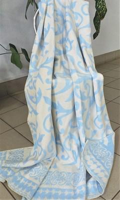 """Одеяло """"Ярослав"""" байковое жаккард. завиток голубой - фото 6196"""