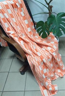 "Одеяло байковое 170х205 ""Клетка"" оранжевое - фото 6346"