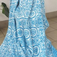 Одеяло байковое жаккард 170х205 Орнамент (синие ромашки ) - фото 6478