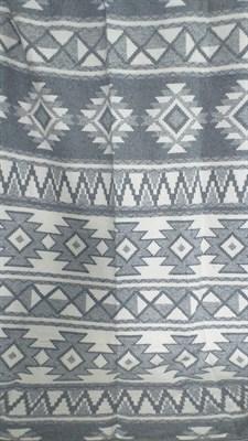 Одеяло-плед хлопковое в канте серое (орнамент) - фото 6593