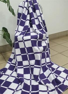 """Одеяло байковое 140х205 """"Клетка"""" сиреневое - фото 6689"""