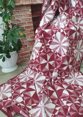 Одеяло-плед хлопковое в канте бордовое (калейдоскоп) - фото 6751