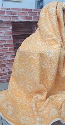 Одеяло байковое жаккард мелкий ромб (оранжевое) - фото 6761