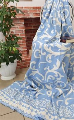 """Одеяло """"Ярослав"""" байковое жаккард. завиток синий - фото 6770"""