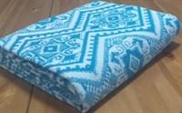 Одеяло байковое жаккард 140х205 Орнамент (синее)