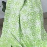 Одеяло байковое жаккард 170х205 Орнамент (салатовые ромашки )