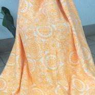 Одеяло байковое жаккард 170х205 Орнамент (оранжевые ромашки )