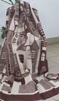"Одеяло шерстяное тканое ""Домики"" бежево-коричневое"
