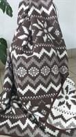 Одеяло-плед хлопковое в канте коричневое (орнамент)