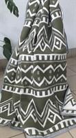 Одеяло-плед хлопковое в канте зелёное (зигзаг)