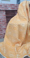Одеяло байковое жаккард 140х205 мелкий ромб (оранжевое)