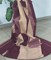 """Одеяло из мериносовой шерсти тканое """"Кошки"""" (бордовые)"""